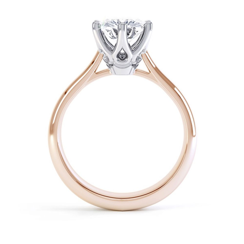 Hope 6 claw engagement ring side view rose gold