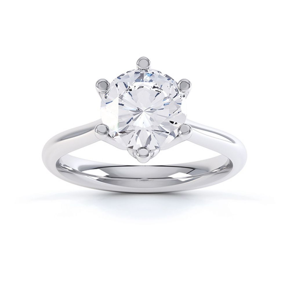 Hope 6 claw engagement ring top view white gold