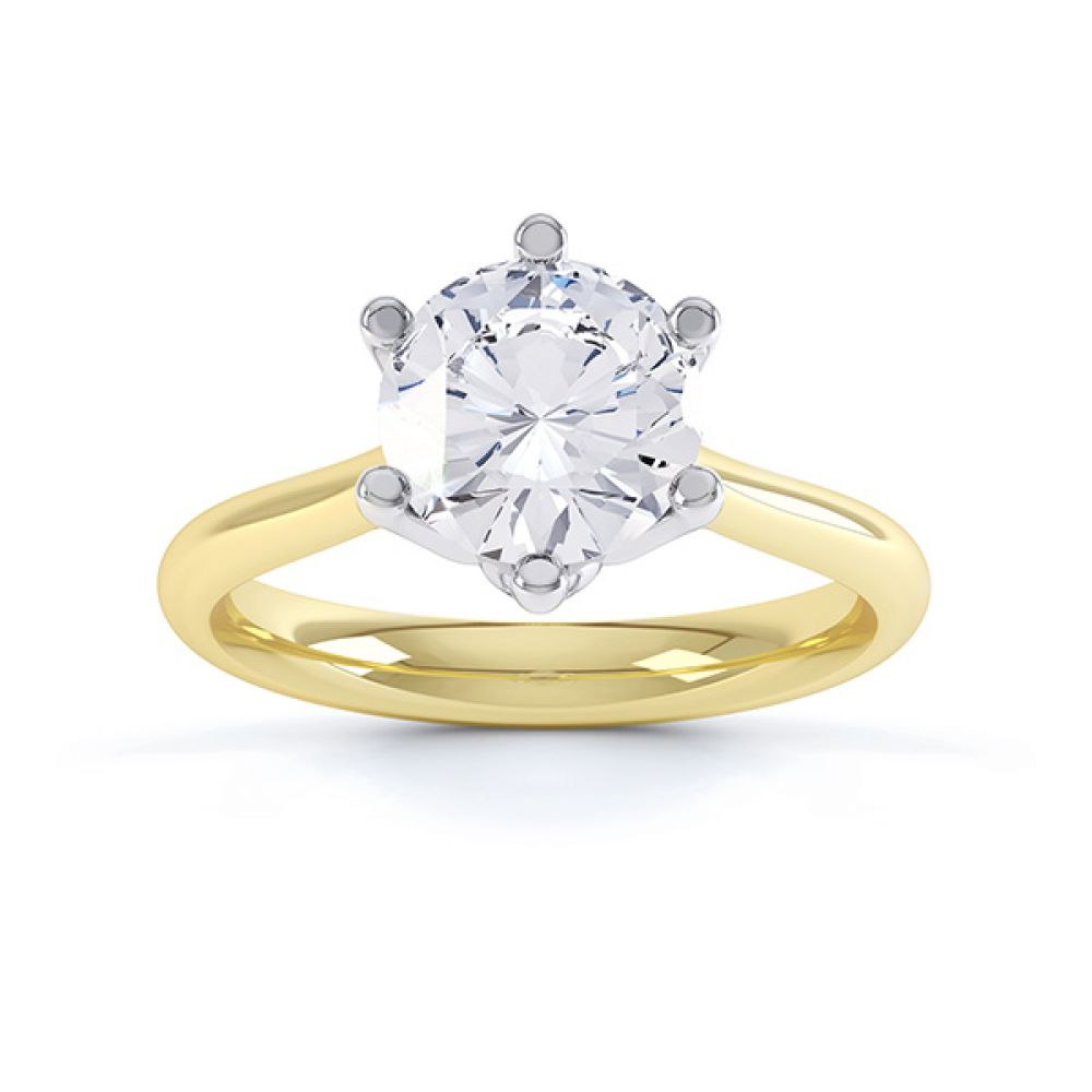 Hope 6 claw engagement ring top view yellow gold
