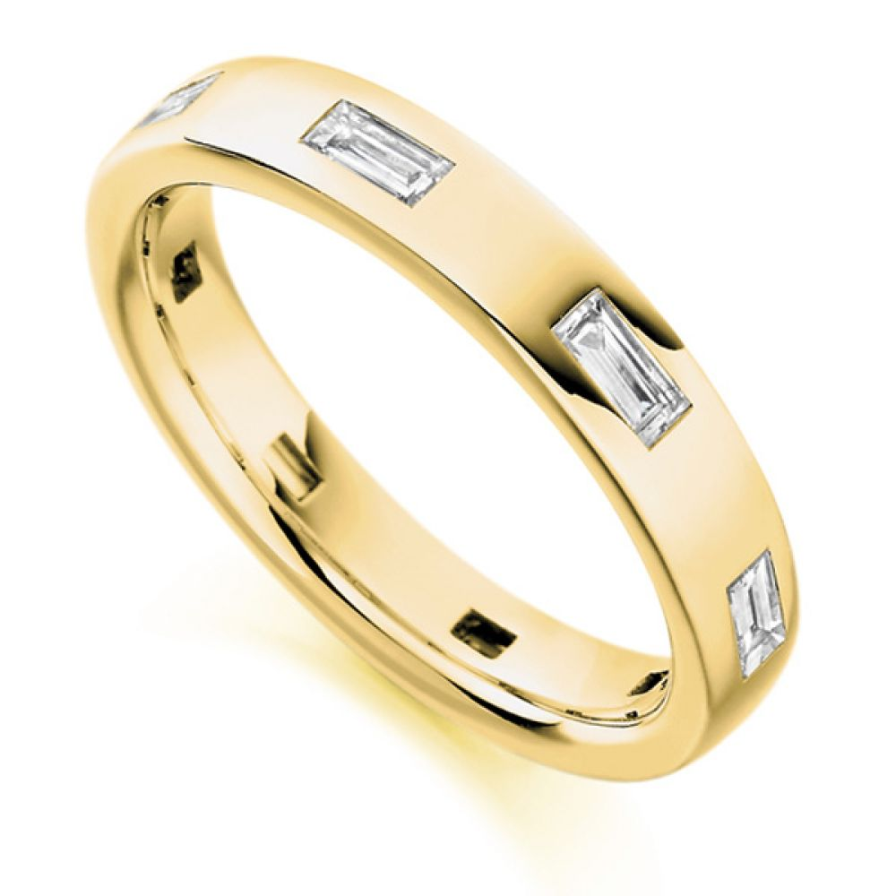 0.55cts Flush Set Baguette Cut Diamond Band In Yellow Gold