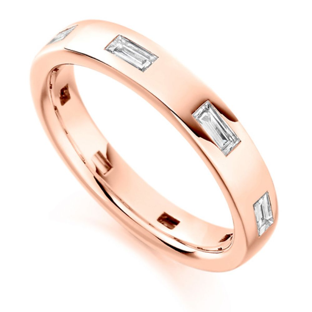 0.55cts Flush Set Baguette Cut Diamond Band In Rose Gold