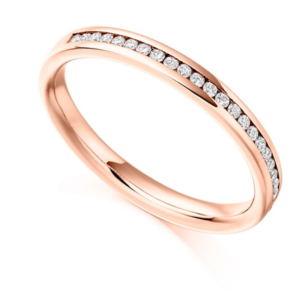0.15ct Round Diamond Half Eternity Ring In Rose Gold
