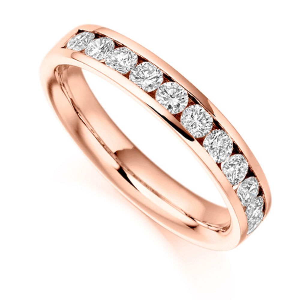 0.80cts Round Brilliant Diamond Half Eternity Ring In Rose Gold