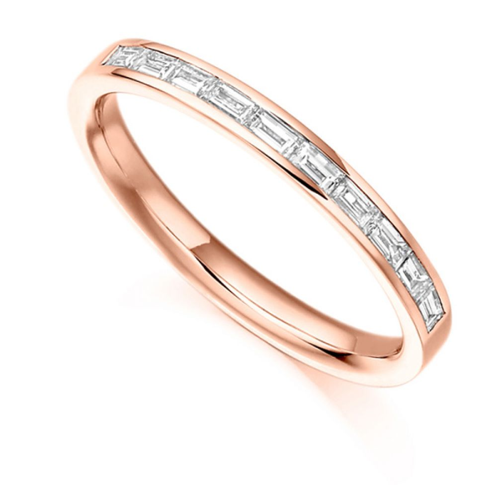 0.30cts Baguette Diamond Half Eternity Ring In Rose Gold