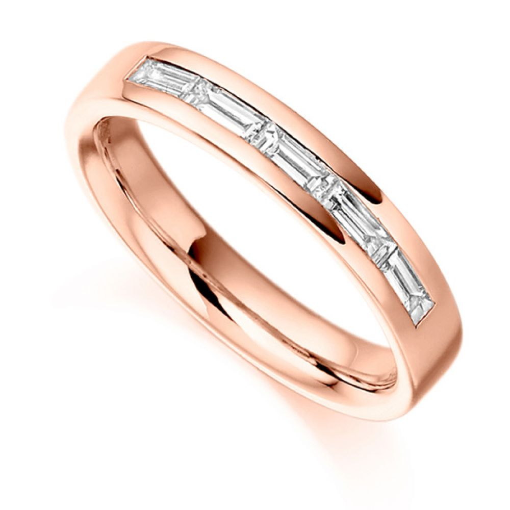 0.30cts Baguette Cut 5 Stone Diamond Ring In Rose Gold