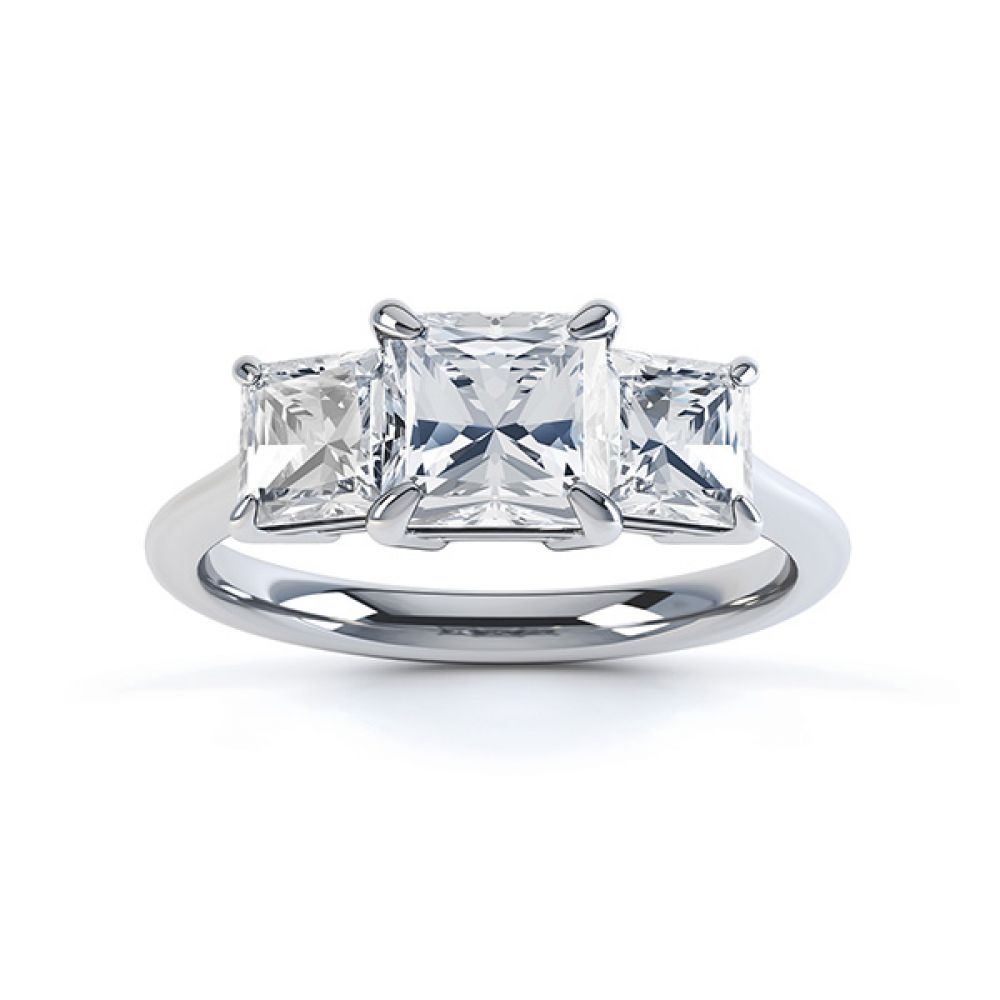 Three stone princess cut diamond engagement ring top view white gold