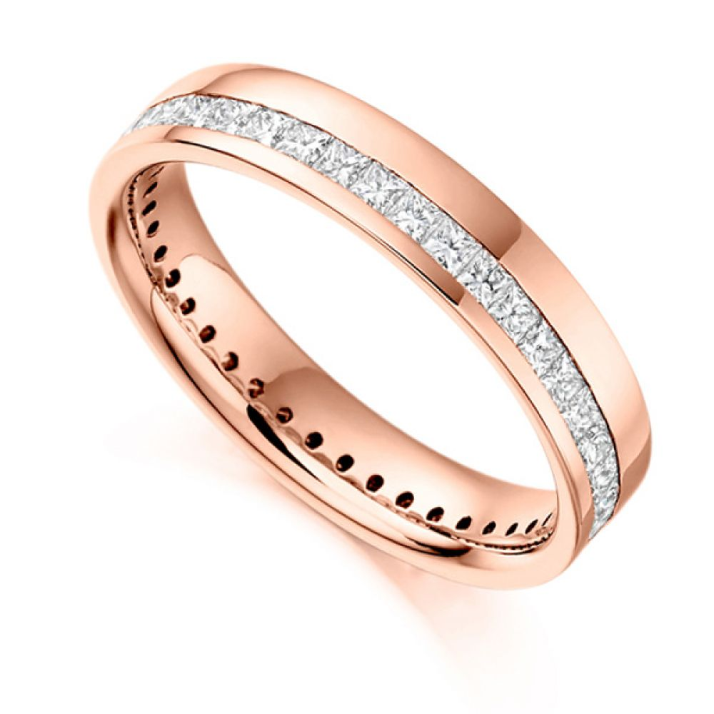 1 Carat Princess Full Diamond Eternity Ring with Off-Set Channel In Rose Gold