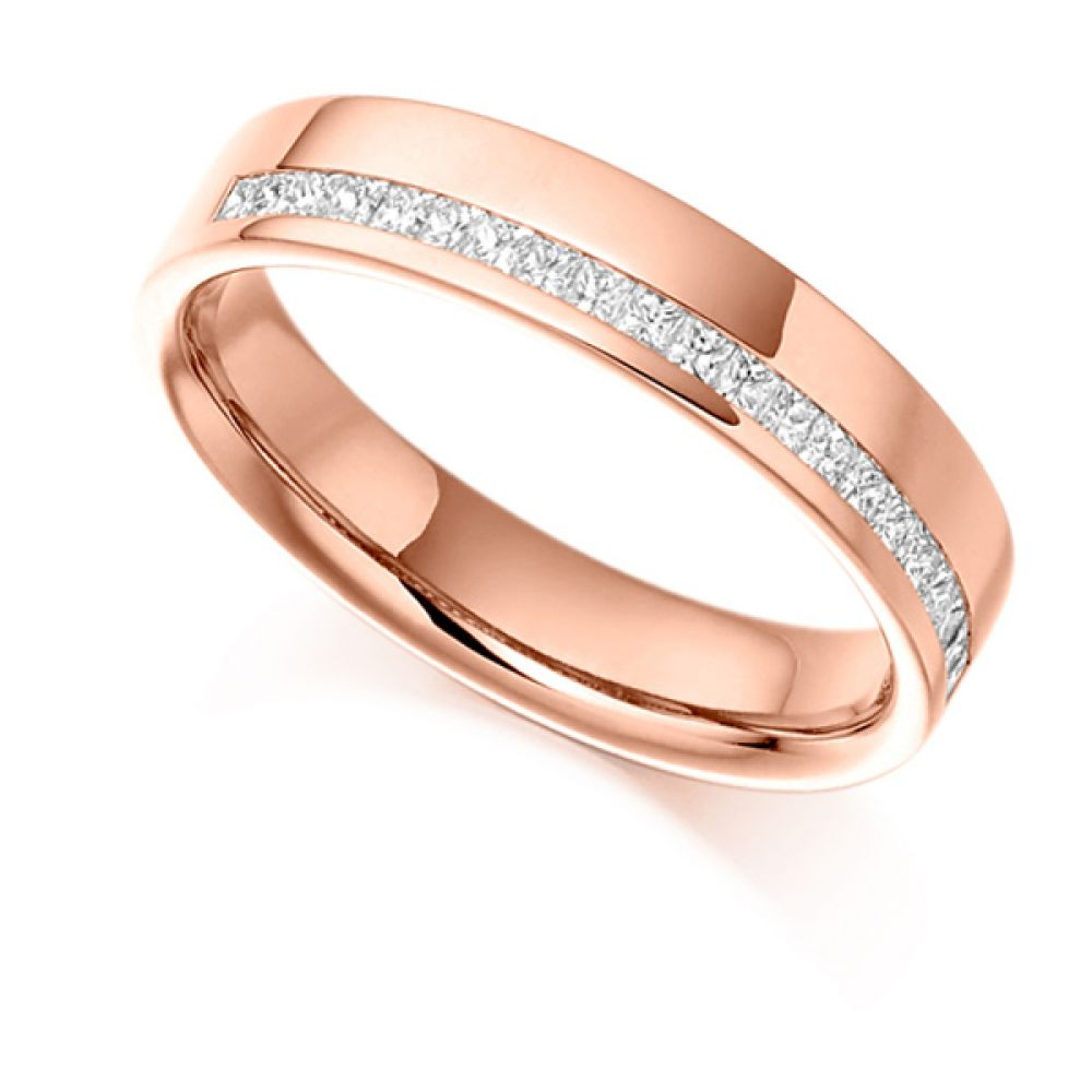 0.25cts Offset Channel Princess Half Eternity Ring In Rose Gold