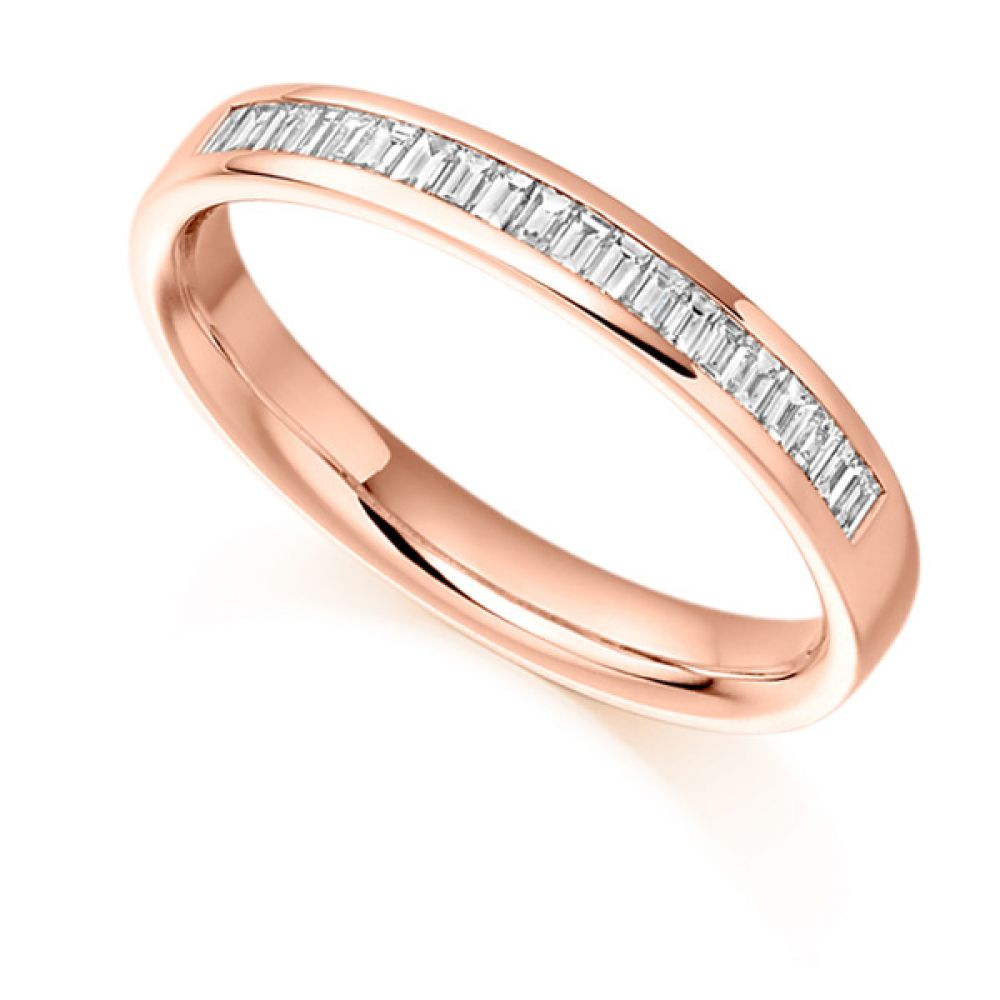 0.25cts Half Channel Set Baguette Diamond Eternity Ring In Rose Gold