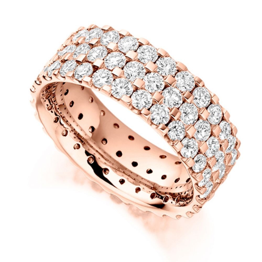 3 Carat 3 Row Pavé Set Full Diamond Eternity Ring In Rose Gold