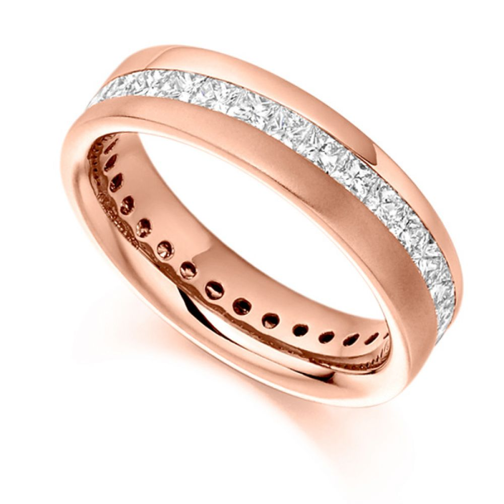 1.50cts Diagonal Channel Full Princess Diamond Eternity Ring In Rose Gold