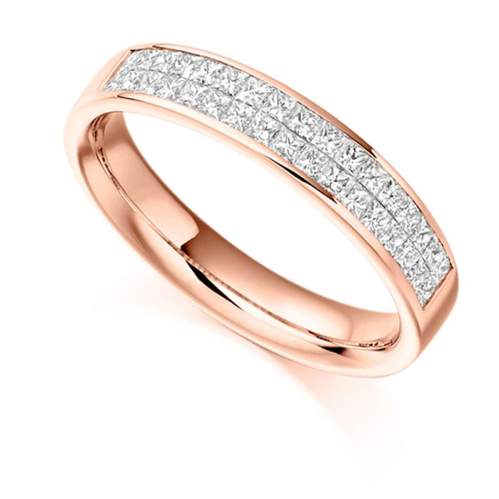 0.60ct Invisibly Channel Set Princess Half Eternity Ring In Rose Gold