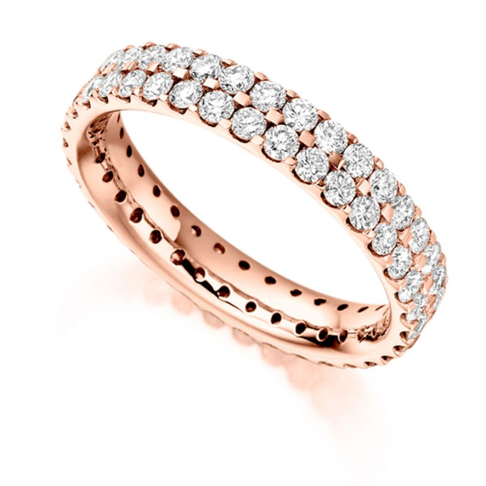 1.50ct 2 Row Pavé Set Full Diamond Eternity ring In Rose Gold