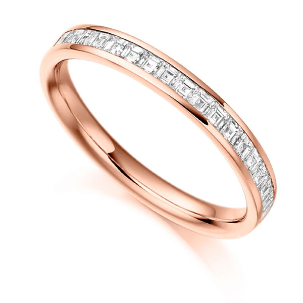 0.50cts Carré Cut Diamond Half Eternity Ring In Rose Gold