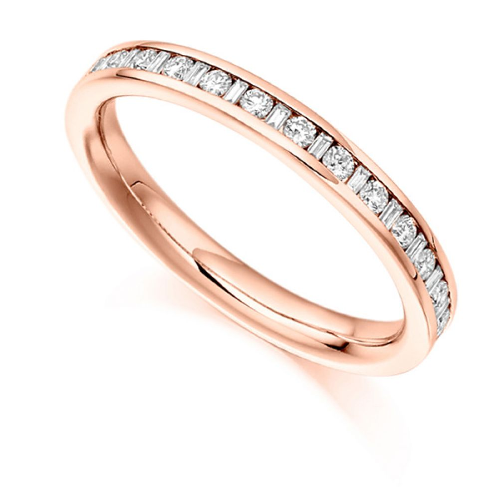 0.30cts Baguette & Round Diamond Half Eternity Ring In Rose Gold