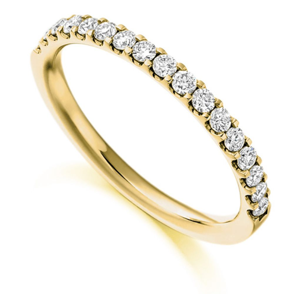 0.33cts Claw Set Half Diamond Eternity Ring In Yellow Gold