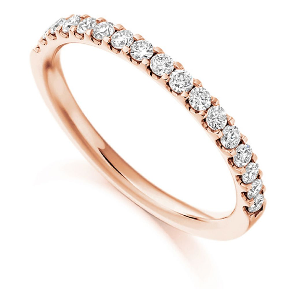 0.33cts Claw Set Half Diamond Eternity Ring In Rose Gold