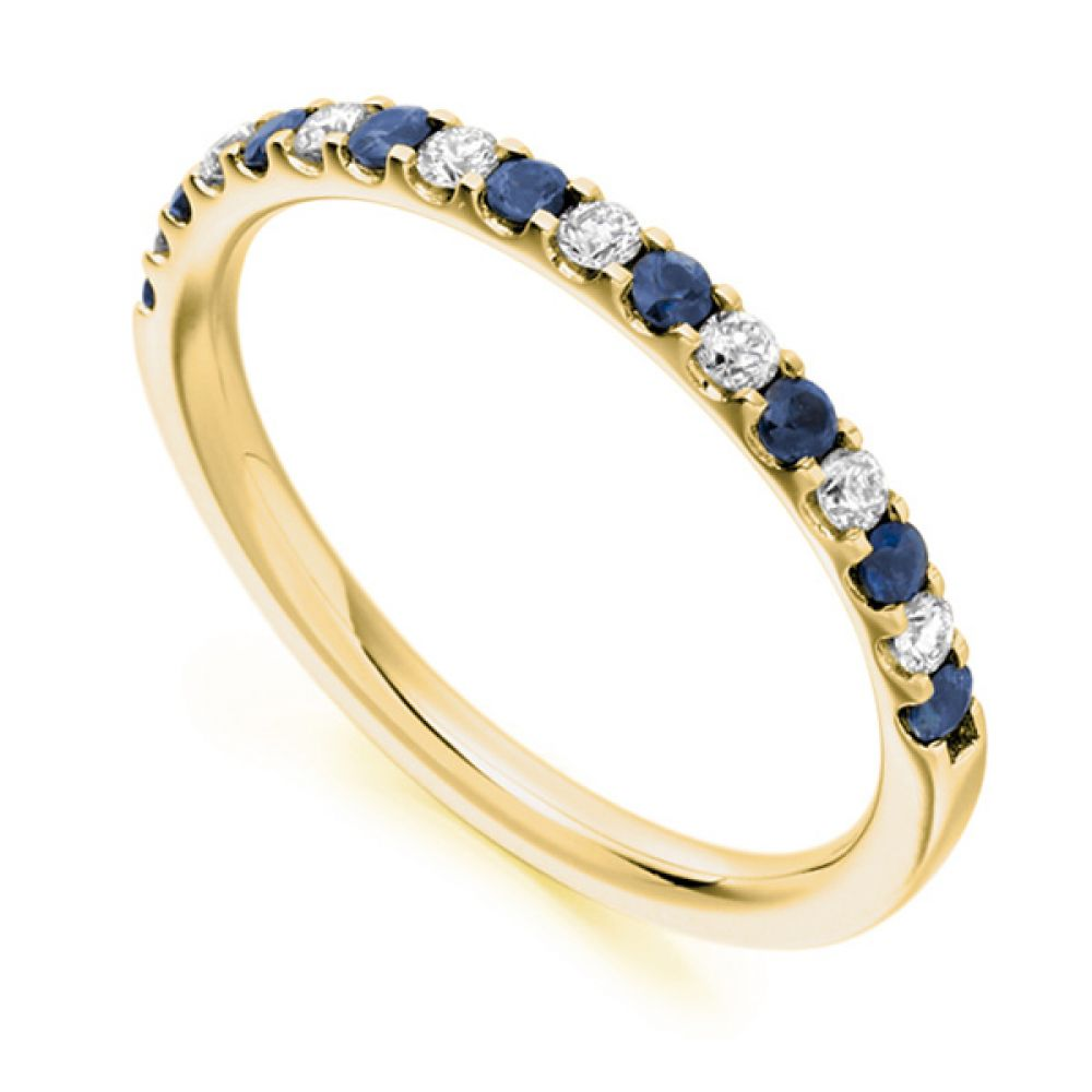 0.14cts Round Blue Sapphire & Diamond Half Eternity Ring In Yellow Gold