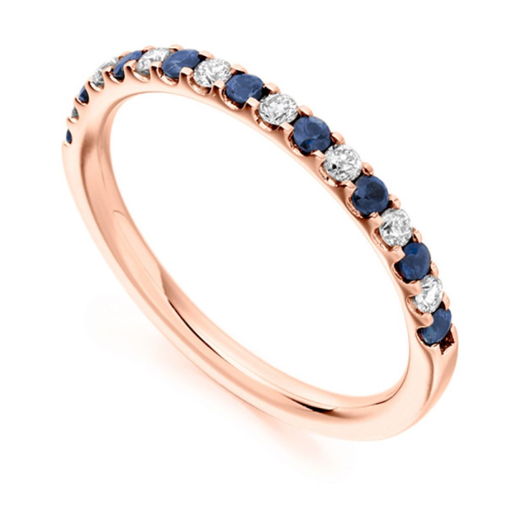 0.14cts Round Blue Sapphire & Diamond Half Eternity Ring In Rose Gold