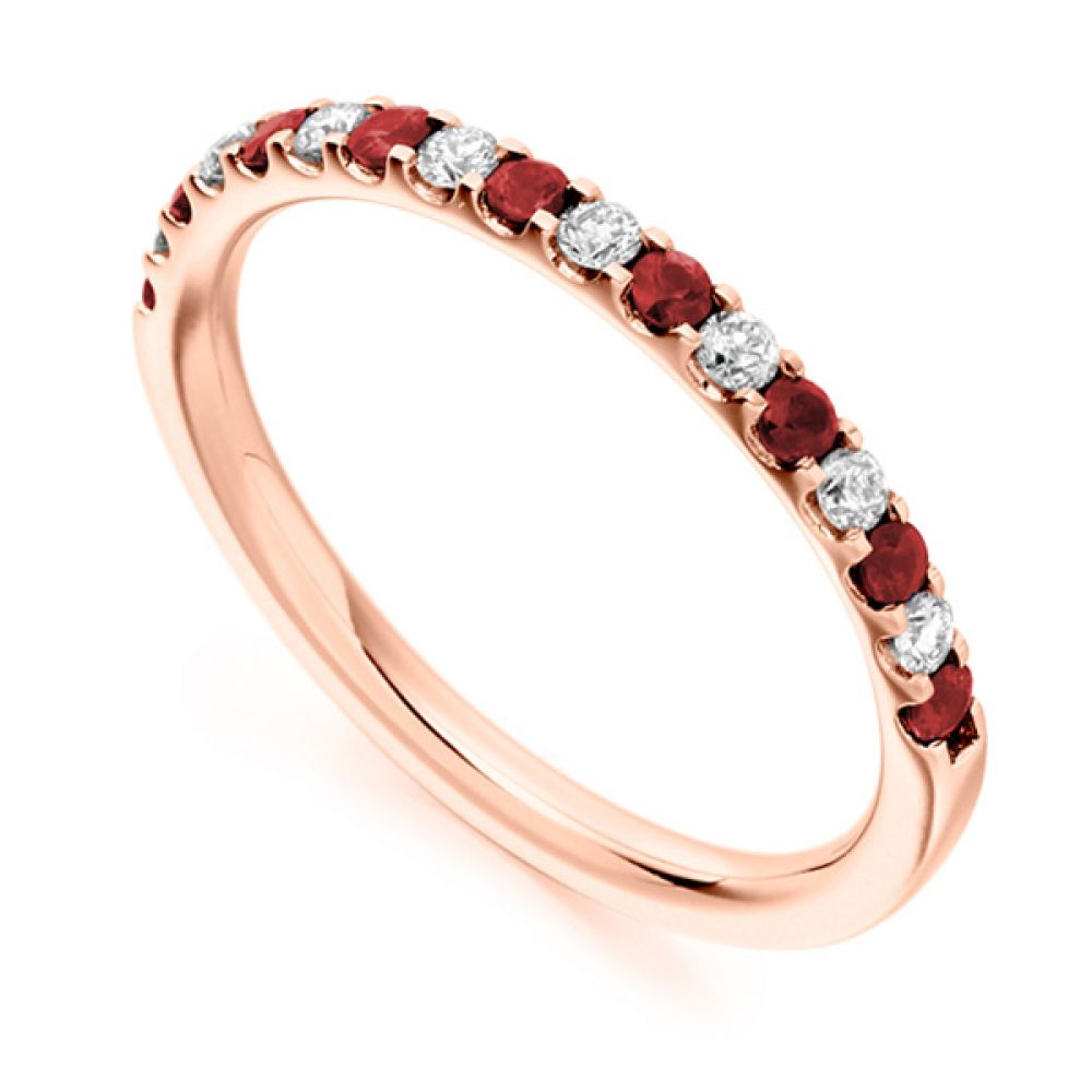 0.16cts Round Diamond & Ruby Half Eternity Ring In Rose Gold