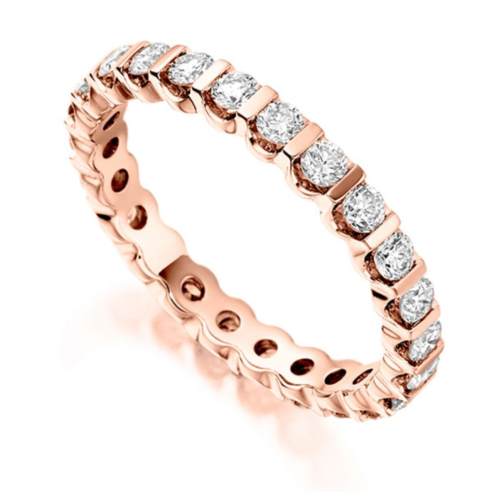 1 Carat Bar Set Round Diamond Full Eternity Ring In Rose Gold
