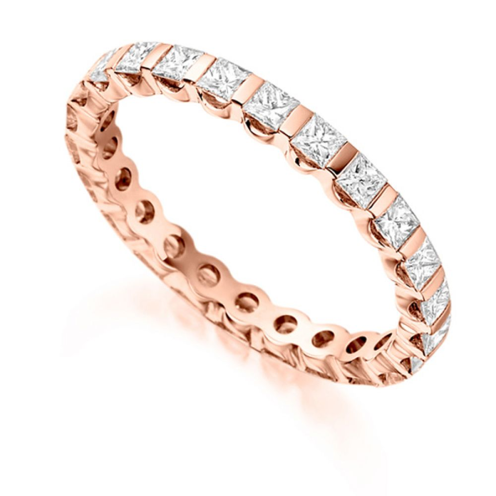 1.05 Carat Bar Set Full Diamond Eternity Ring In Rose Gold