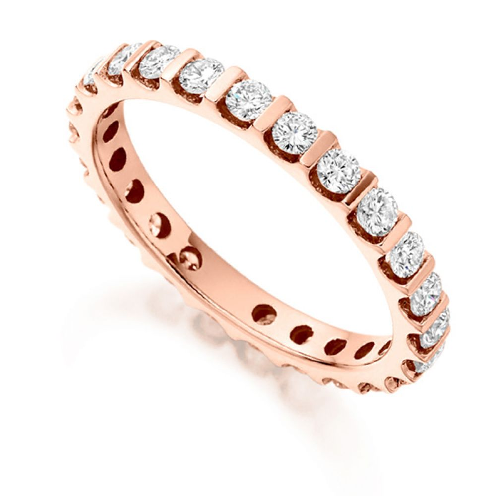 1 Carat Round Diamond Full Eternity Ring Bar Setting In Rose Gold