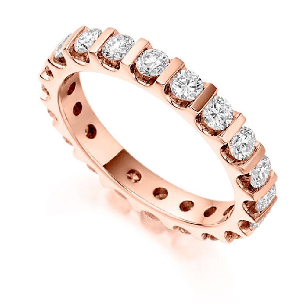 1.50cts Full Diamond Eternity Ring with Bar Setting In Rose Gold