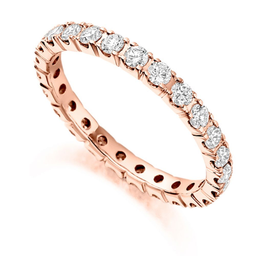 1 Carat Round Diamond Full Eternity Ring Claw Setting In Rose Gold