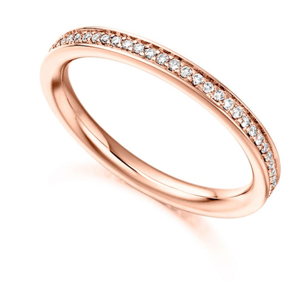 0.30cts Grain Set Diamond Full Eternity Ring In Rose Gold