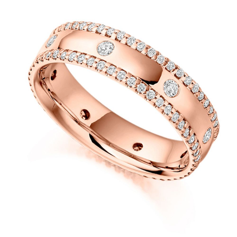 0.80ct Micro Pavé Flush Set Full Diamond Band In Rose Gold