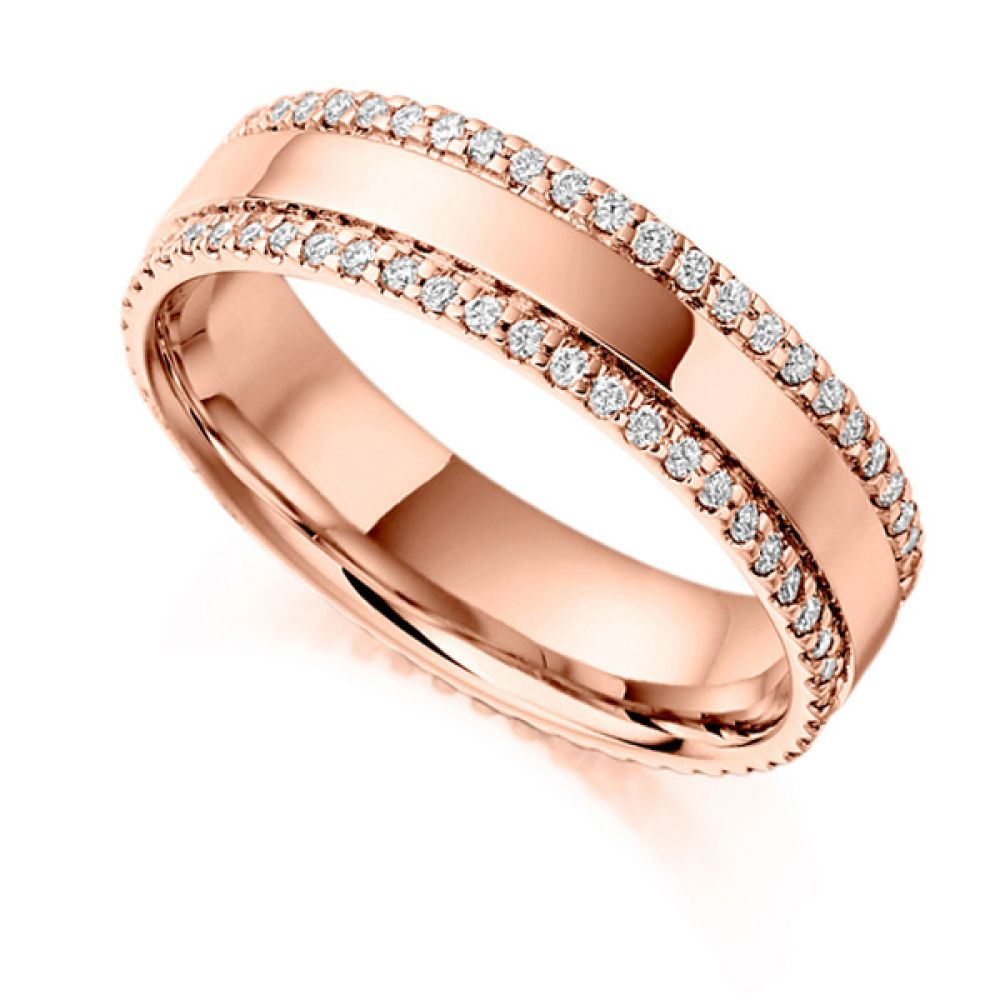0.55cts Double Pavé Edge Full Diamond Eternity Ring In Rose Gold