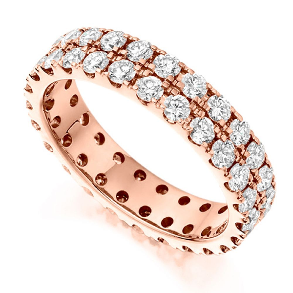 2 Carat 2 Row Pavé Diamond Full Eternity Ring In Rose Gold