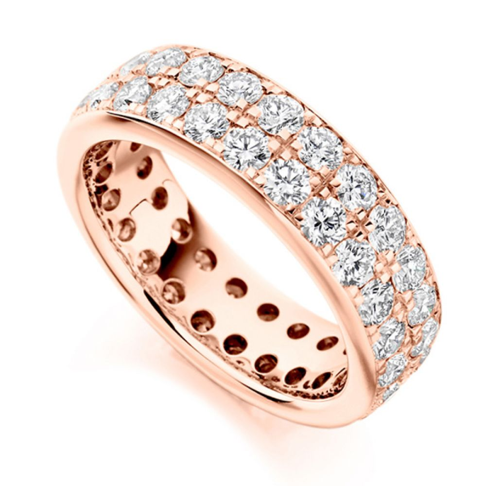 3.10ct 2 Row Pavé Set Full Diamond Eternity Ring In Rose Gold
