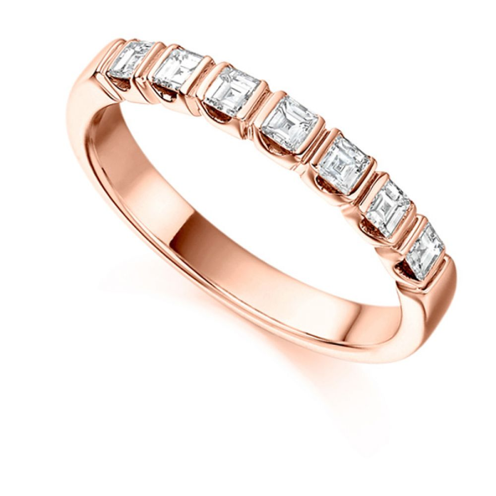 0.50cts Carre Cut Bar Set Diamond Half Eternity Ring In Rose Gold