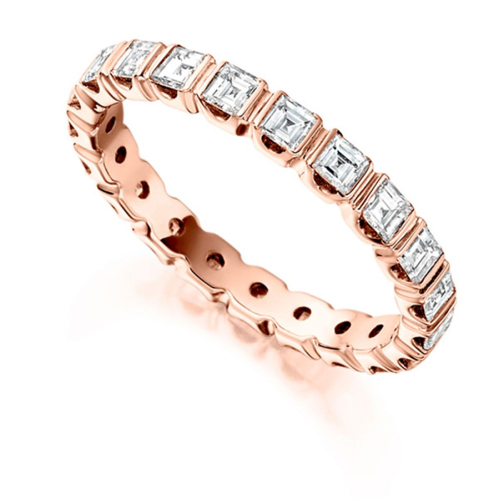 1.5 Carat Bar Set Carré Cut Full Diamond Eternity Ring In Rose Gold