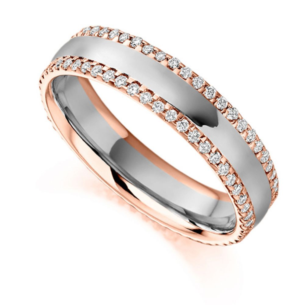 0.55cts Diamond Edged Full Eternity Ring In Rose Gold