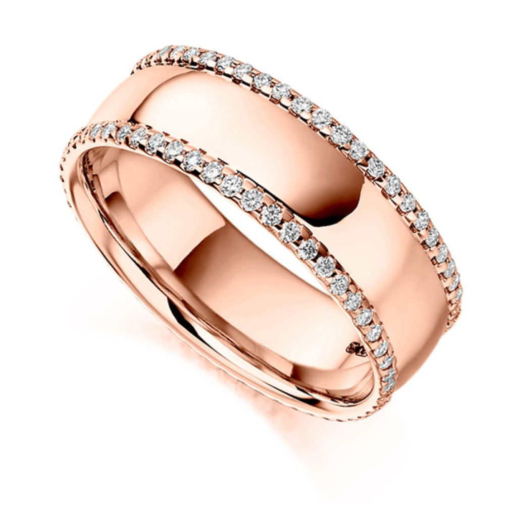 0.55cts Wide 6.8mm Diamond Edged Full Eternity Ring In Rose Gold