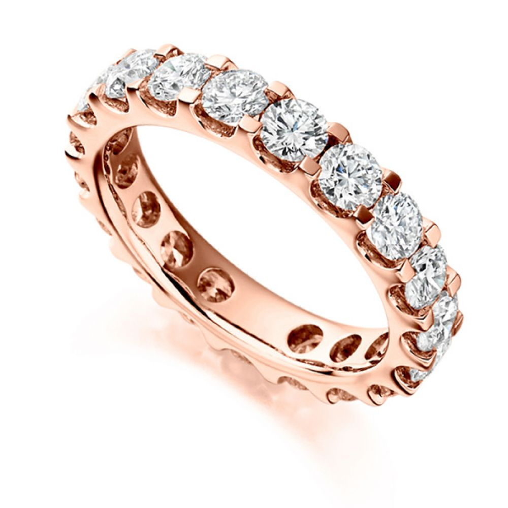 3 Carat Round Diamond Full Eternity Ring Claw Setting In Rose Gold