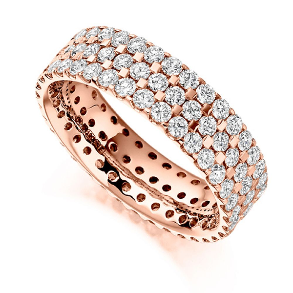 2.5ct 3 Row Pavé Set Full Diamond Eternity Ring In Rose Gold