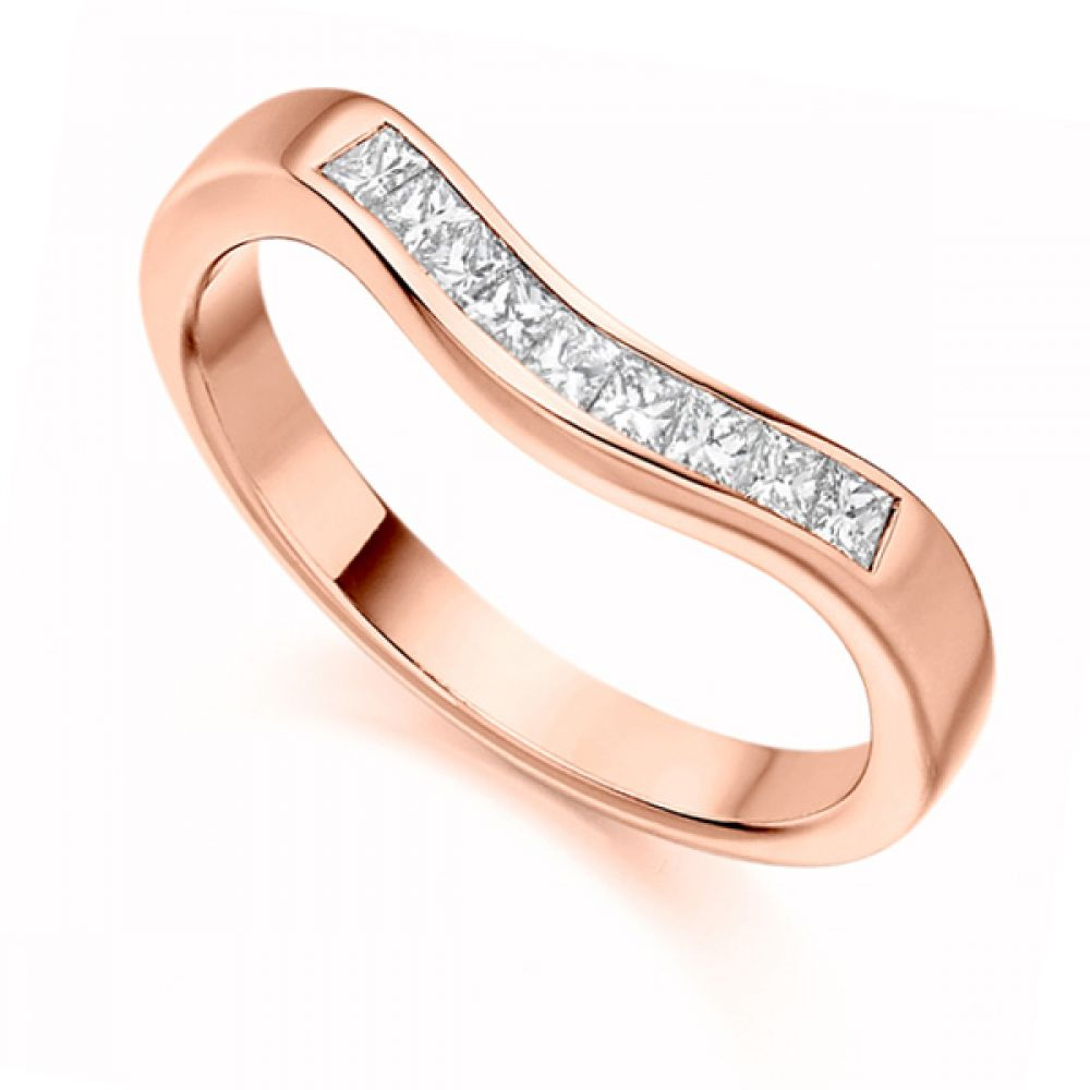 0.35cts Princess Cut Shaped Diamond Wedding Ring In Rose Gold