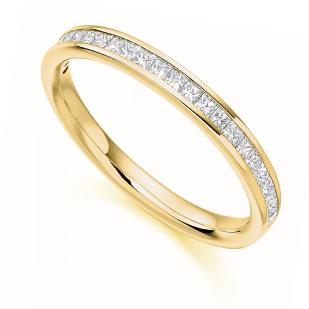 0.33cts Princess Cut Diamond Half Eternity Ring In Yellow Gold