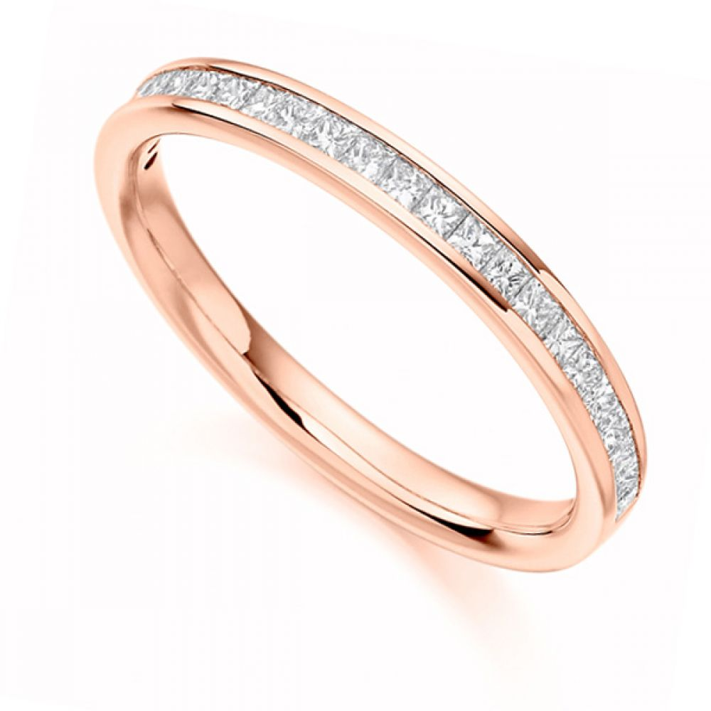 0.33cts Princess Cut Diamond Half Eternity Ring In Rose Gold