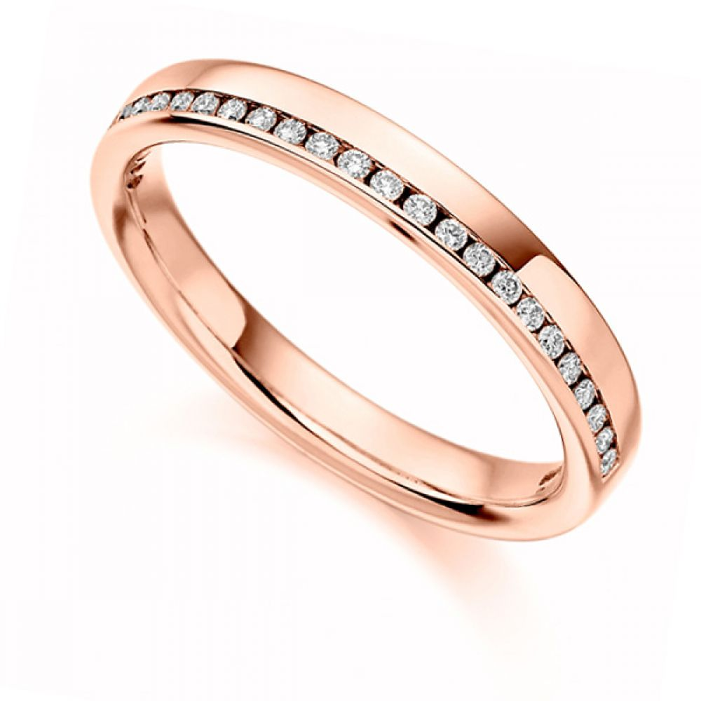 0.12cts Offset Channel Diamond Half Eternity Ring In Rose Gold