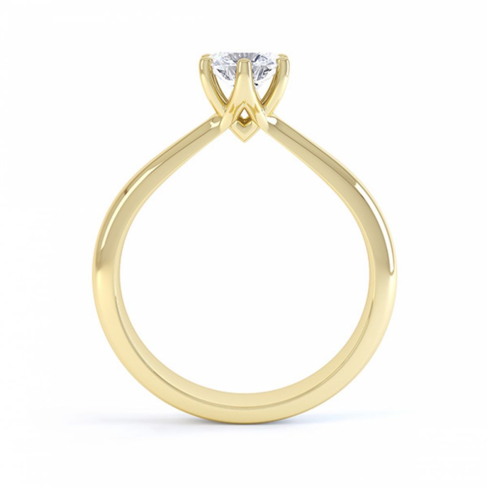 Modern destiny design 6 claw solitaire engagement ring side view yellow gold