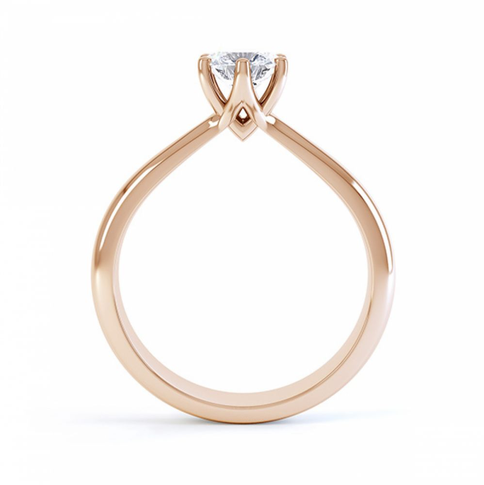 Modern destiny design 6 claw solitaire engagement ring side view rose gold