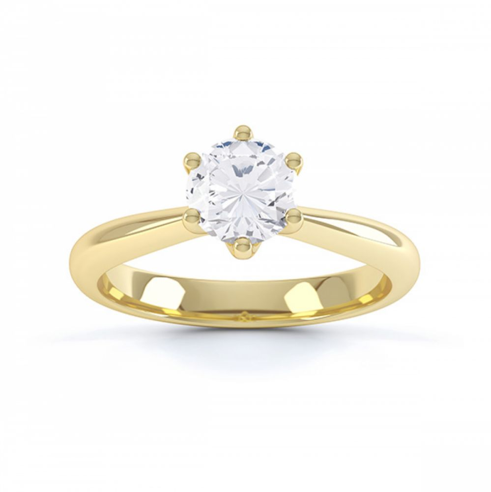 Modern destiny design 6 claw solitaire engagement ring top view yellow gold