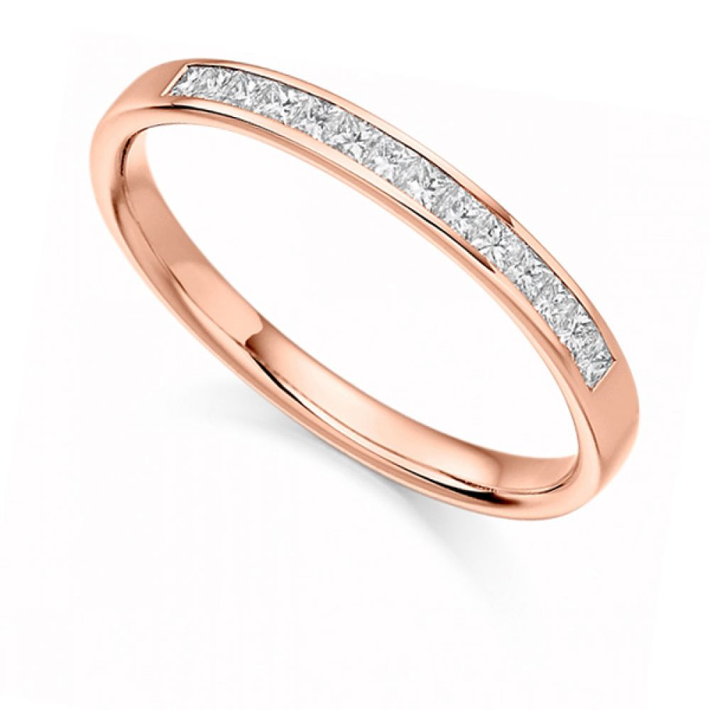 0.20cts Princess Cut Diamond Half Eternity Ring In Rose Gold