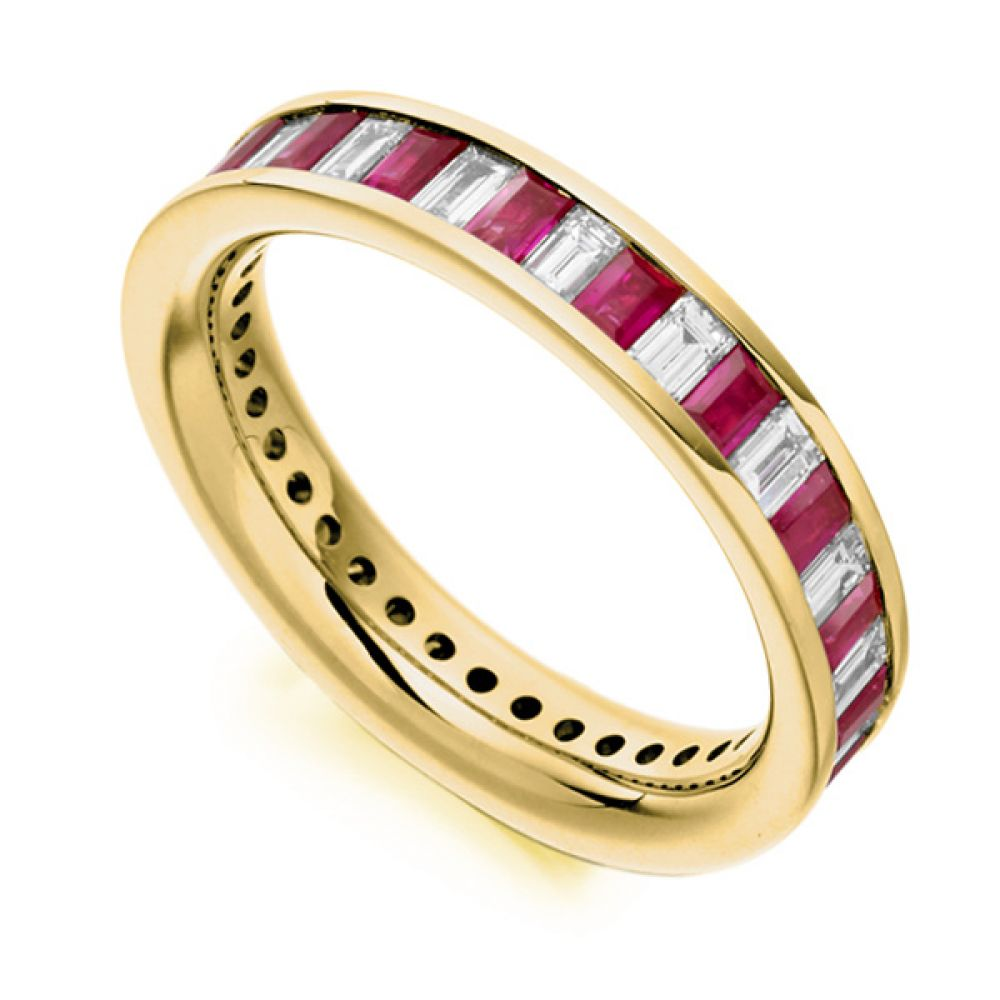 1 Carat Baguette Cut Diamond and Ruby Full Eternity Ring In Yellow Gold