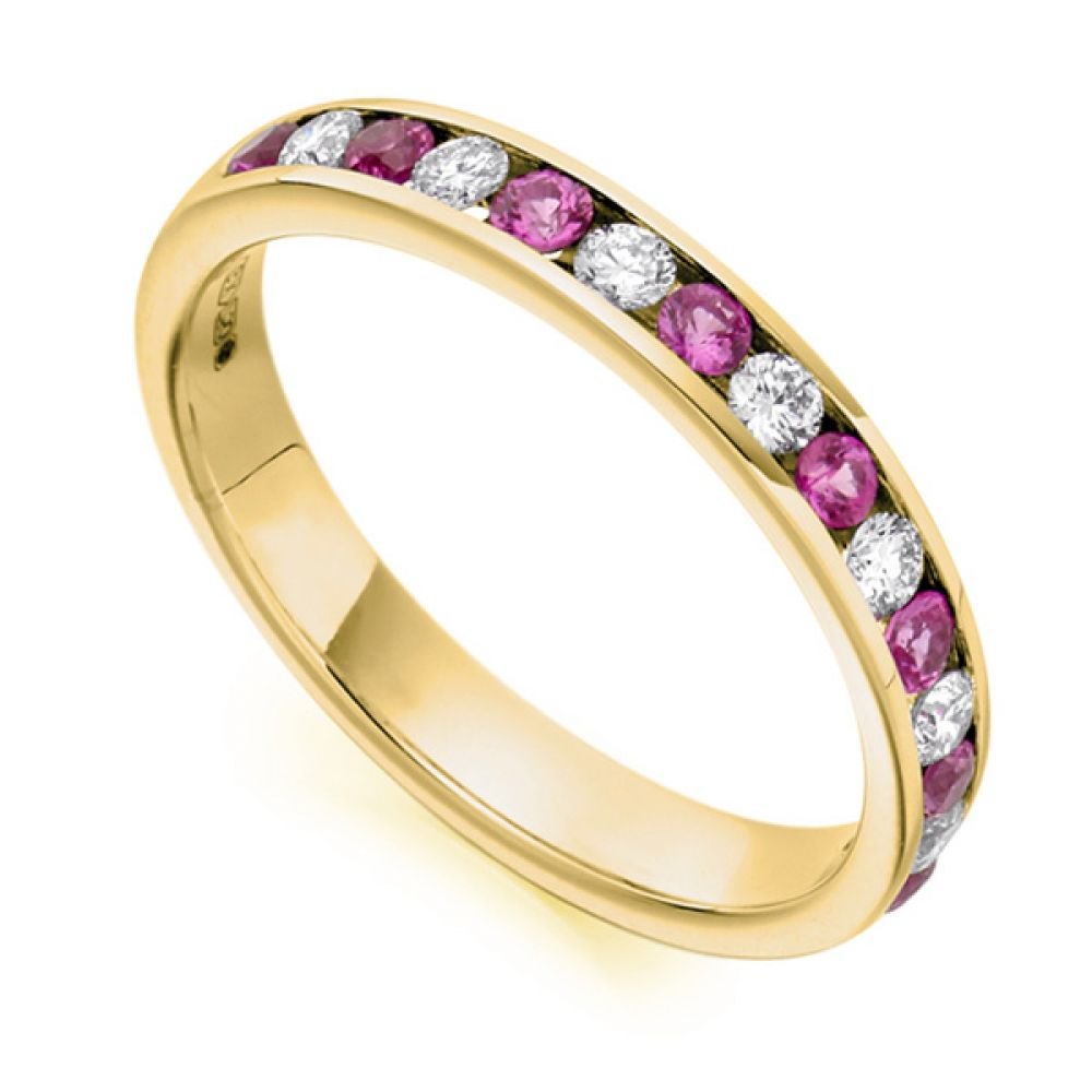 0.27cts Round Diamond & Pink Sapphire Half Eternity Ring In Yellow Gold
